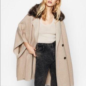 Zara Poncho Cape Coat, Knit and Fur